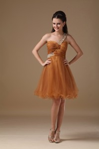 Brown One Shoulder Mini-length Organza Beading Sweet 16 Dress