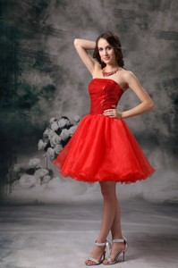 Low Price Red Strapless Sweet 15 Dress Organza Mini-length