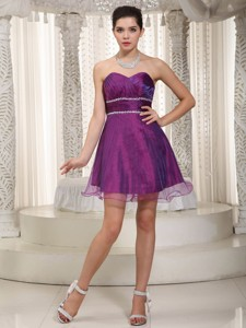 Popular Sweetheart Mini-length Organza Beading Homecoming Dress