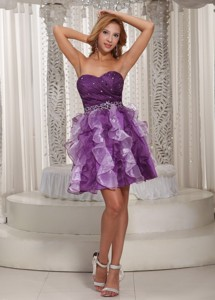 Lovely Princess Ruffles Beaded Decorate Eggplant Purple Homecoming Dress Cocktail Style