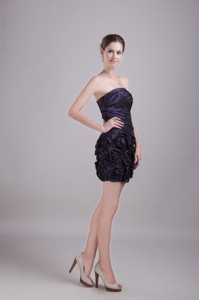 Purple Column/sheath Strapless Mini-length Taffeta Handle-made Flower Homecoming Dress