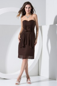 Brown Chiffon Homecoming Dress With Bowknot And Pocket