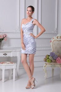 Ruching One Shoulder Prom Gowns with Beaded and Appliqed Sash