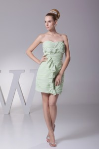 Ruffled and Ruched Sweetheart Column Prom Gowns in Light Green