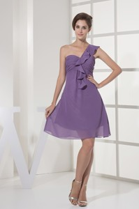 Ruching and Ruffles One Shoudler Empire Prom Gown in Purple