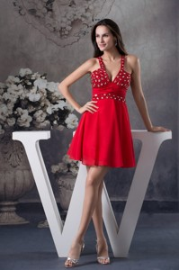 Sexy Half-open Back V-neck Red Homecoming Dress With Rhinestone