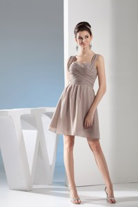 Lovely Gray Straps Mini-length with Ruching Decorate Prom Gown Dress