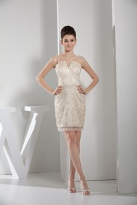 Simple Champagne Scoop Prom Gown Dress with Lace and Sheer Neck