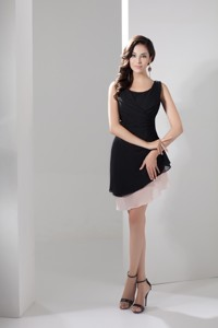 Affordable Two Tiers Scoop Column Asymmetricl Homecoming Dress In Black