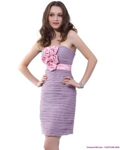 Strapless Short Homecoming Dress With Hand Made Flowers And Ruching