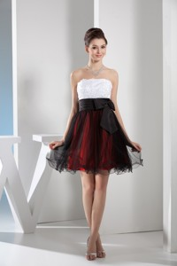 Multi-color Organza Layers Cocktail Dress With Appliques And Black Bow