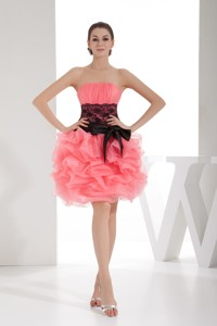Strapless Ruched Watermelon Cocktail Dress Knee-length With Sash