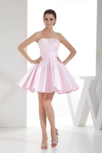 Sweetheart Baby Pink Mini-length Cocktail Dress With Ruche