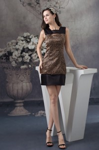 Leopard Print Satin Brown And Black Cocktail Dress With Cutouts