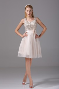 Princess Square Sash Tulle Sequins Cocktail Dress