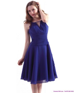 Perfect Royal Blue Knee Length Dama Dress With Ruching
