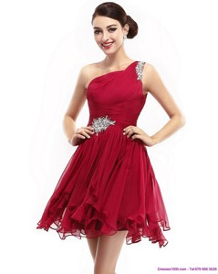 One Shoulder Ruching Mini Length Cocktail Dress With Beading