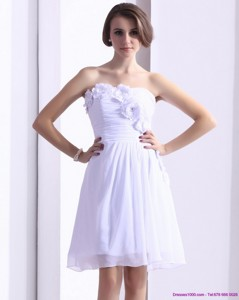 White Strapless Cocktail Dress With Ruching And Hand Made Flower