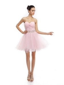 Cute Baby Pink Sweetheart Ruching Short Cocktail Dress
