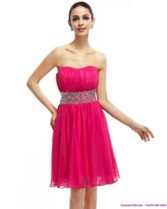 Coral Red Strapless Short Cocktail Dress With Ruching And Rhinestones