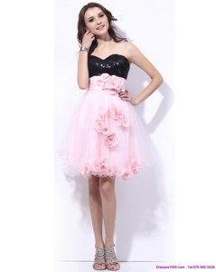 Sweetheart Sequins Cocktail Dress In Pink And Black