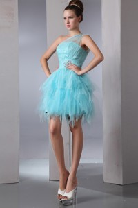 Aqua Blue Column One Shoulder Short Cocktail Dress Asymmetrical Organza Beading