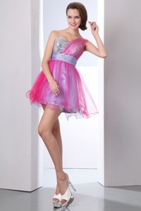 Hot Pink And Lilac One Shoulder Beading Cocktail Dress Mini-length Organza