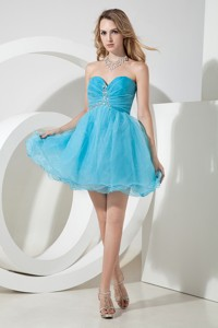 Aqua Blue Princess Sweetheart Mini-length Organza Beading Cocktail Dress