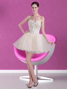 Cute Short Sweetheart Beading Cocktail Dress In Champagne
