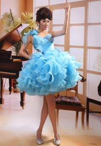 One Shoulder Baby Blue Mini-length Prom Gowns With Organza Ruffles Hottest In Stirling U