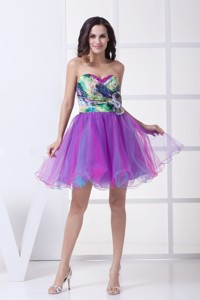 Ruching And Flower Accent Mini Organza Cocktail Dress With Colorful Print