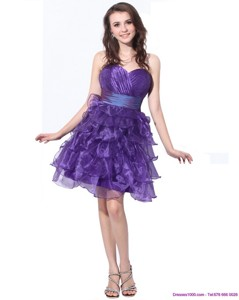Pretty Sweetheart Short Cocktail Dress With Ruffled Layers