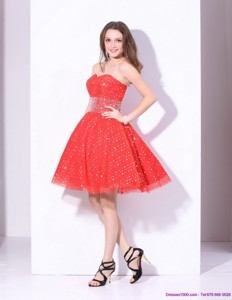 Remarkable Sweetheart Beading Mini Length Cocktail Dress In Red
