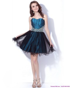 Multi Color Sweetheart Sequined And Ruffled Cocktail Dress