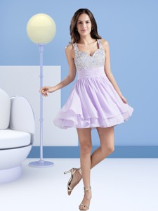 Perfect A Line Straps Short Lavender Cocktail Dress With Beading
