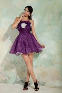 Lovely Dark Purple Princess Prom Homecoming Dress Strapless Organza Hand Made Flowers Min