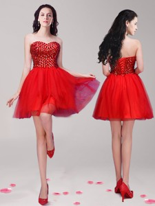 Wonderful Red Tulle A Line Cocktail Dress With Beading