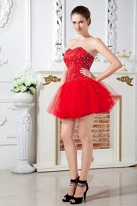 Red Cocktail Dress Sweetheart Mini-length Tulle Beading