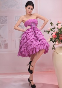 Lavender Appliques Strapless Chiffon Ruffles Stylish Prom Gowns