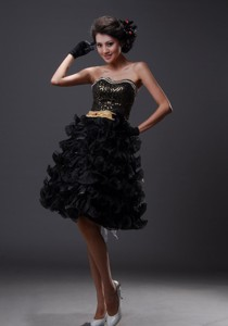 Brooklyn Park Beaded Decorate Bodice Ruffled Layers Knee-length Black Popular Style Prom Home