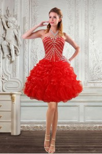 New Style Sweetheart Cocktail Dress With Beading And Ruffles