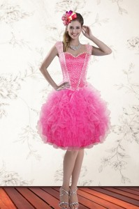 Fashionable Hot Pink Straps Cocktail Dress With Beading And Ruffles