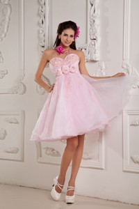 Custom Made Baby Pink Princess Sweetheart Cocktail Dress Organza Beading And Appliques Mini