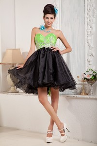 Custom Made Black And Spring Green Cocktail Dress Sweetheart Mini-length Organza Bea
