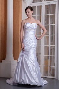 Custom Made Column Sweetheart Court Train Taffeta Appliques and Ruch Wedding Dress