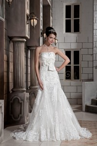 Simple Strapless Court Train Lace Hand Made Flowers Wedding Dress