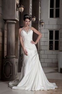 Popular Princess V-neck Brush Train Satin Beading And Ruch Wedding Dress