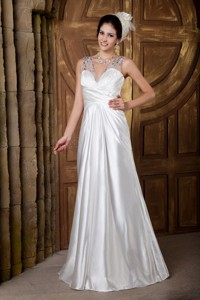Custom Made V-neck Floor-length Elastic Woven Satin Beading Wedding Dress