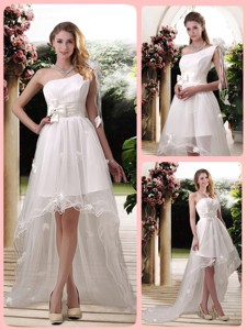 Exclusive One Shoulder High Low Wedding Dress With Appliques