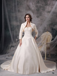 Champagne Sweetheart Chapel Train Satin Appliques Wedding Dress